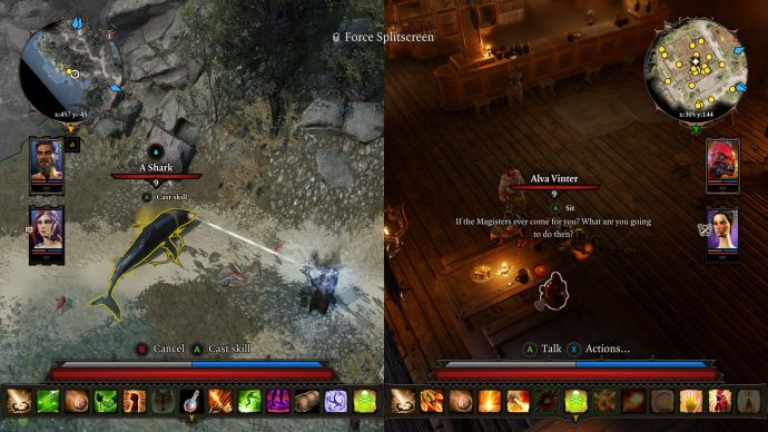 A screenshot of Divinity: Original Sin 2's splitscreen co-op.