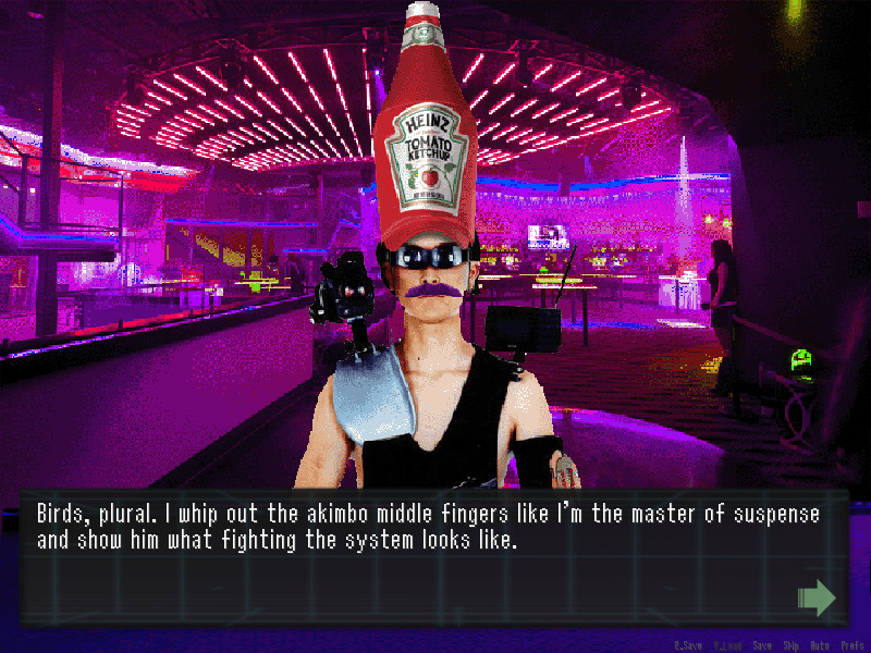 A man with a purple moustache, wraparound sunglasses and a metal shoulderplate stands in a pink lit bar. He is also wearing a cap that looks like a bottle of Heinz Ketchup