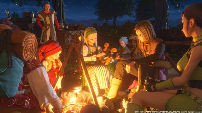 A screenshot of your party from Dragon Quest XI round the campfire.