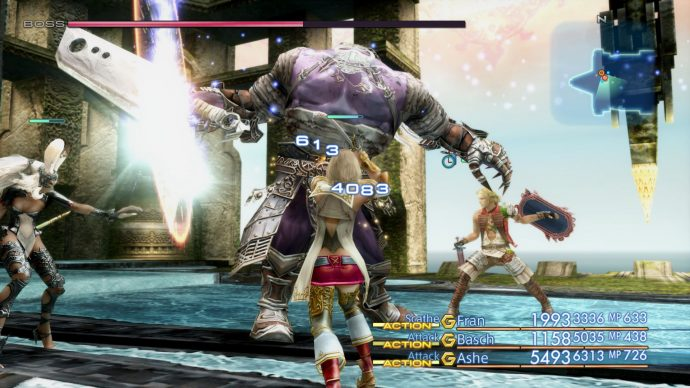 A screenshot showing a boss battle with a purple ogre from Final Fantasy 12: The Zodiac Age.