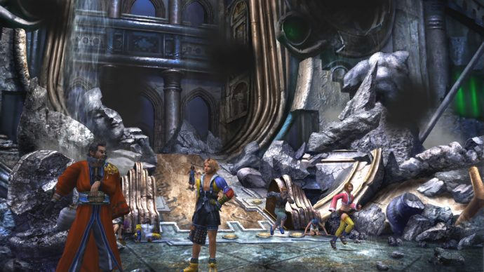 A screenshot of Tidus and Auron standing in the ruins of Zanarkand from Final Fantasy X.