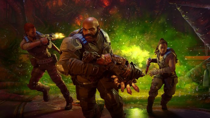 An image of the three heroes of Gears 5's co-op mode.