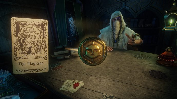 A screenshot of The Magician card and the Dealer from Hand Of Fate 2.