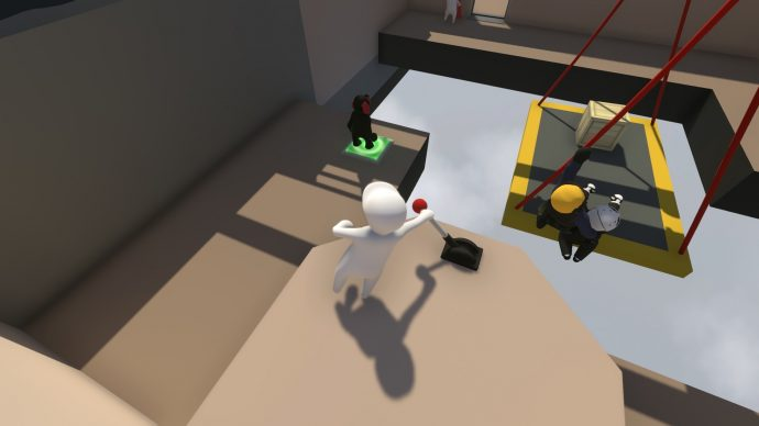 An image of a player flipping a switch in Human Fall Flat.