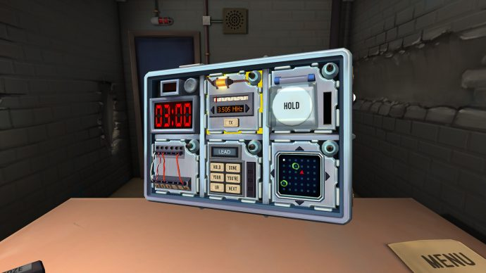A screenshot of the bomb in Keep Talking And Nobody Explodes, which players must communicate together to defuse.