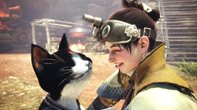 An image of a hunter and their cat pal together in Monster Hunter World.