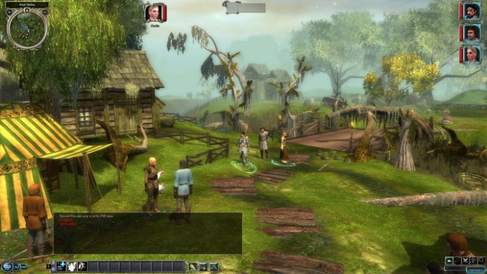 A screenshot of a town scene in Neverwinter Nights 2.