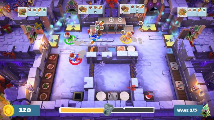 An image showing four-player mayhem in Overcooked 2.
