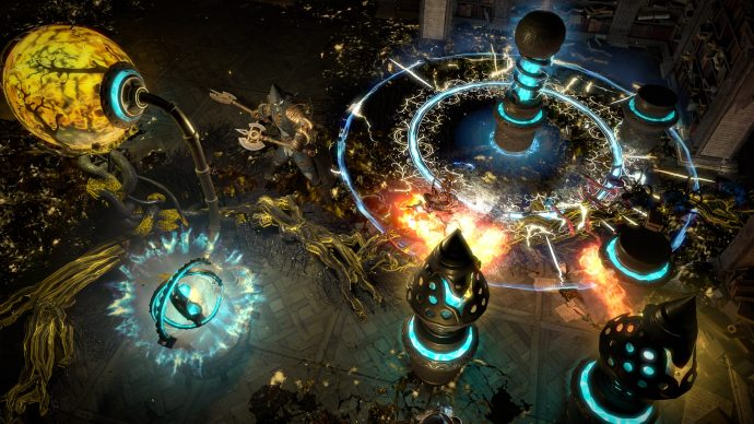 A screenshot showing a character attacking complex machinery in Path Of Exile.
