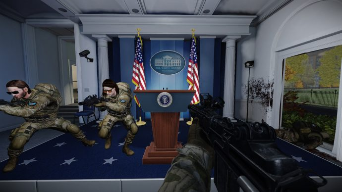 A screenshot of three players at the White House in Payday 2.