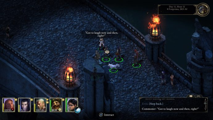 A screenshot of a conversation with a commoner from Pillars Of Eternity.