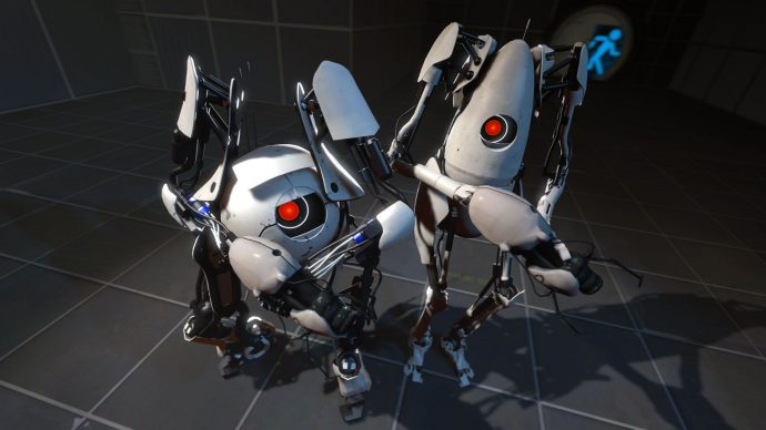The two stars of Portal 2's co-op mode.