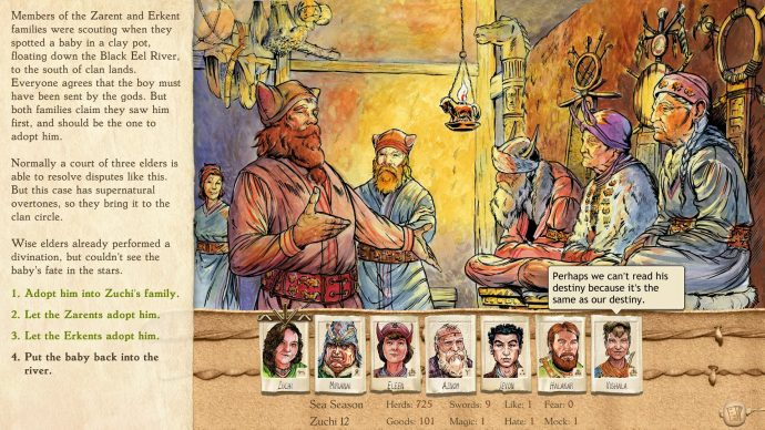 A screenshot of a town meeting from Six Ages: Ride Like The Wind.
