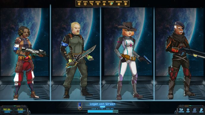 A screenshot of four different character classes from Star Traders: Frontiers.