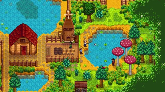 A screenshot of player's fishing together in Stardew Valley co-op.