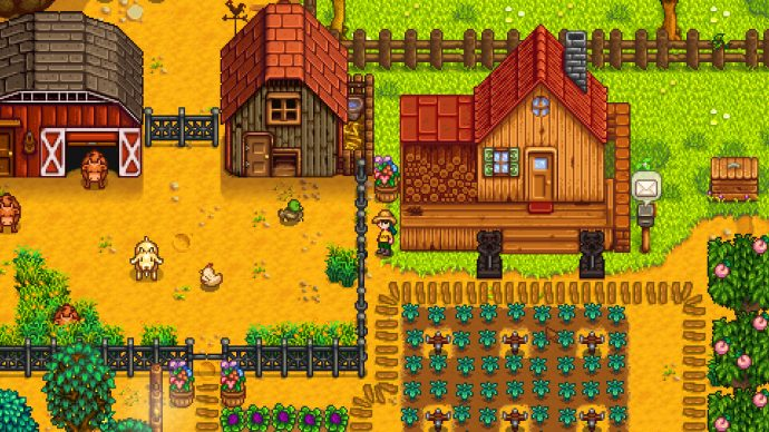 A screenshot of a well-developed farm in Stardew Valley.