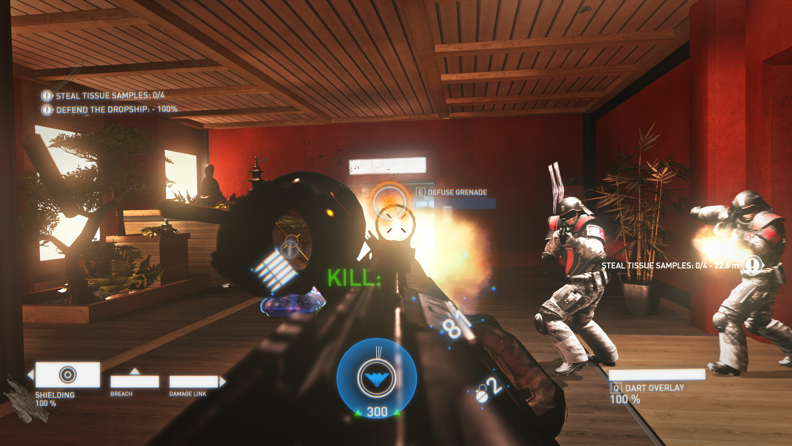 A screenshot from Syndicate; several heavily armoured goons are attacking the protagonist, who is firing back. There is a lot of muzzle flash.