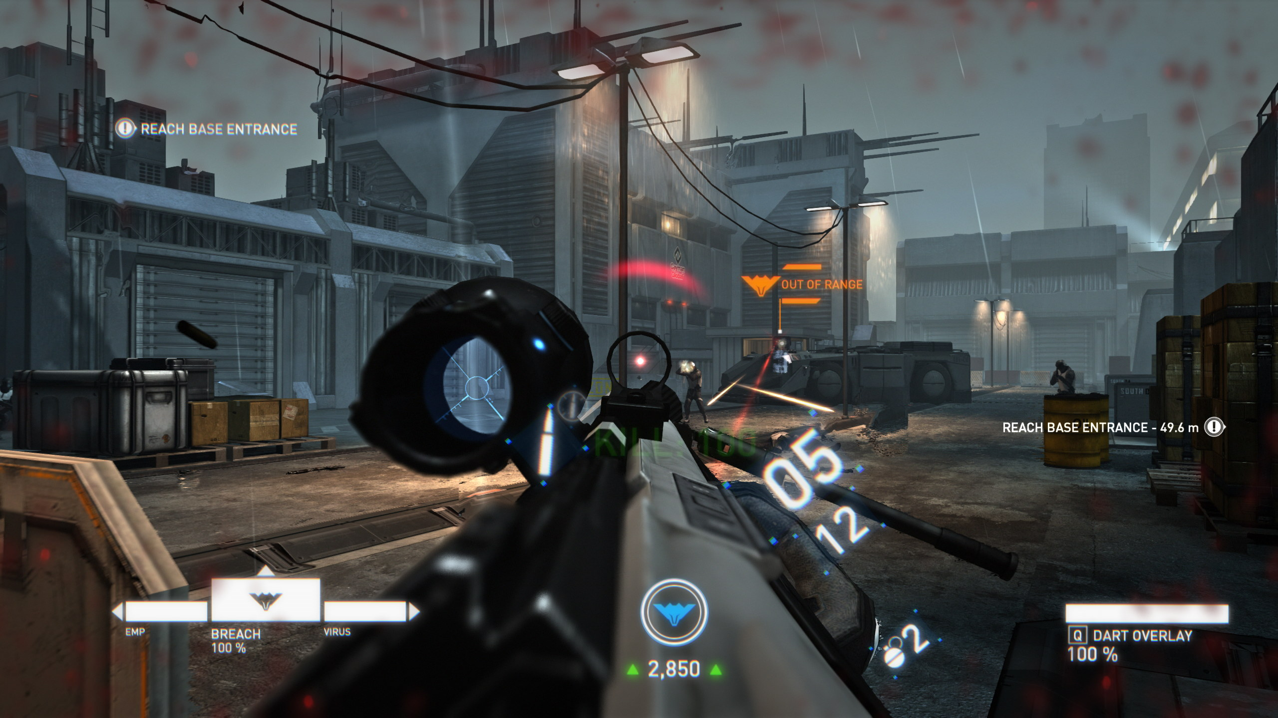 The player fires at an enemy down a grey, concrete street