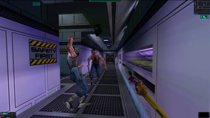 A screenshot of two enemies coming toward you in System Shock 2.