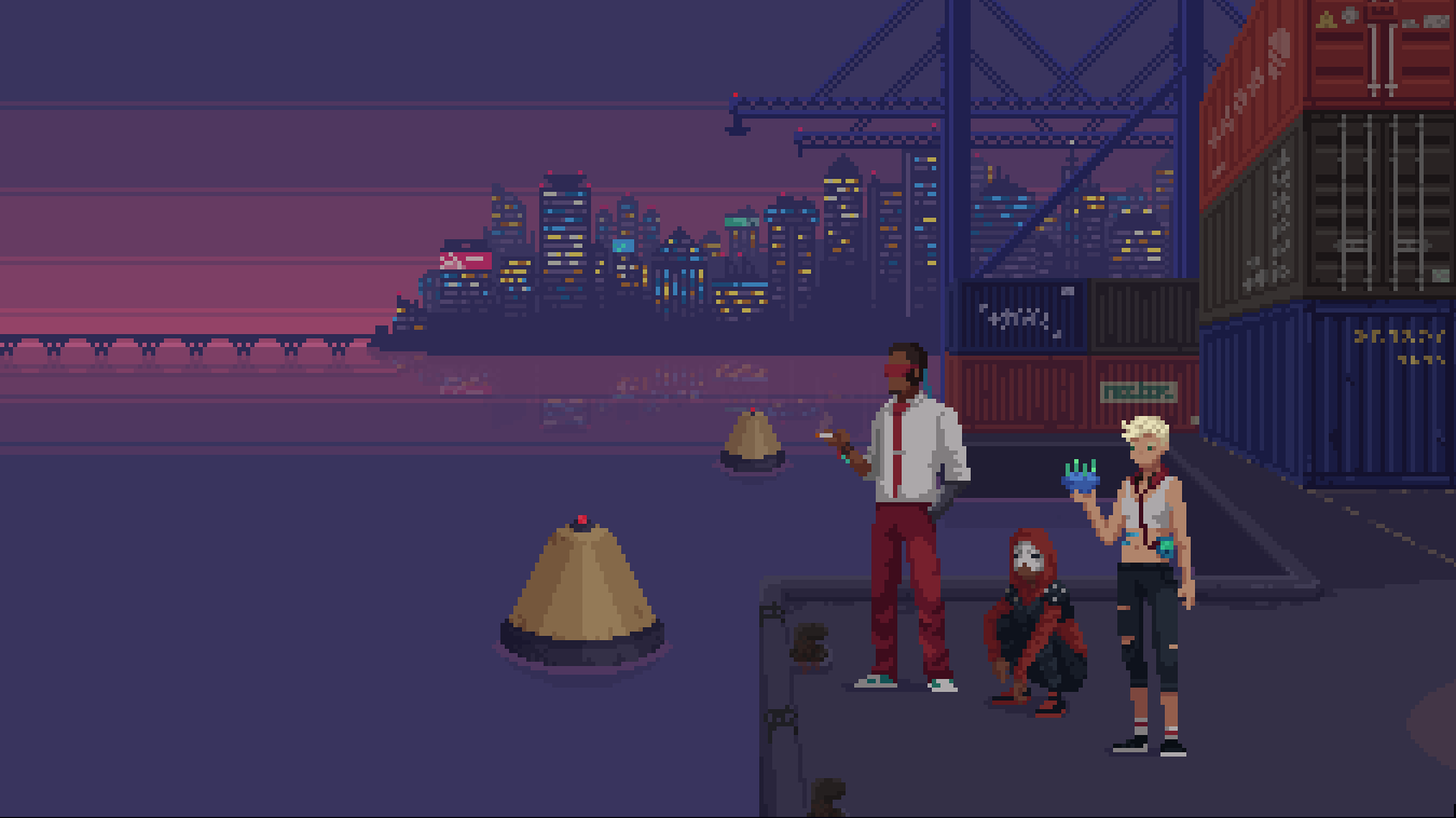 Three cyberpunky figures stand by the water in a shipping port. Shipping crates are behind them, and a cityscape is on the horizon.