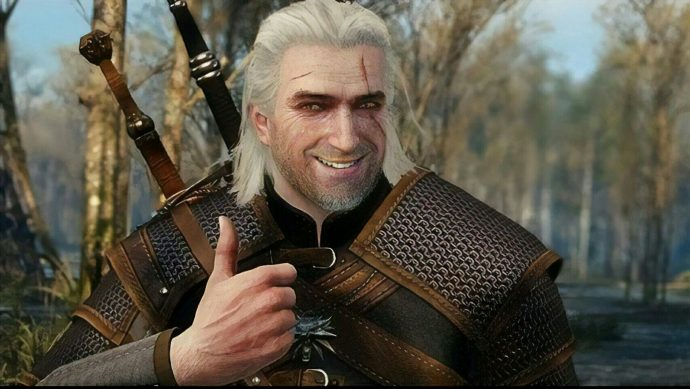 A screenshot of Geralt giving the camera a thumbs up in The Witcher 3: Wild Hunt.