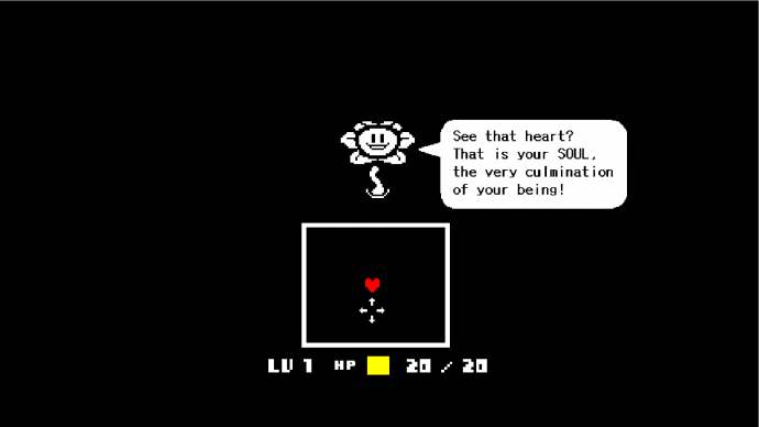 A screenshot of a flower explaining how fights work in Undertale.