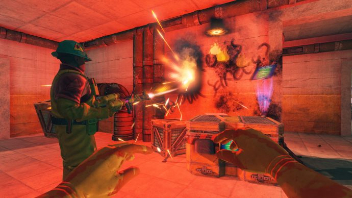 Two players cleaning up a mess with fire in Viscera Cleanup Detail.