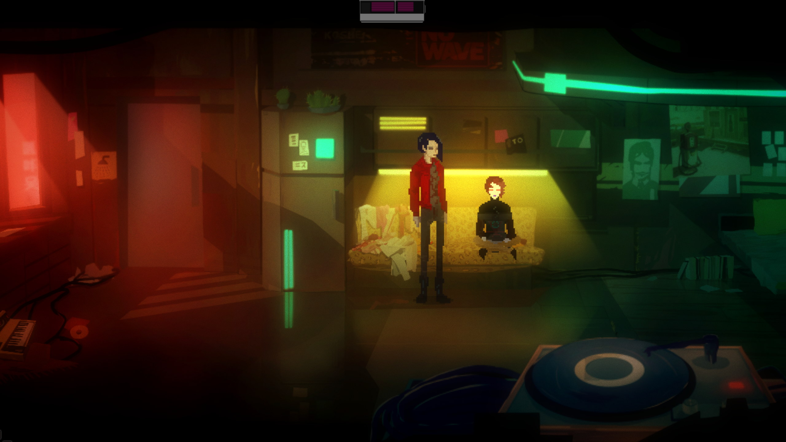 A screenshot from Void And Meddler. Two people are in a grungy, dimly lit apartment. There is a record player in the foreground.