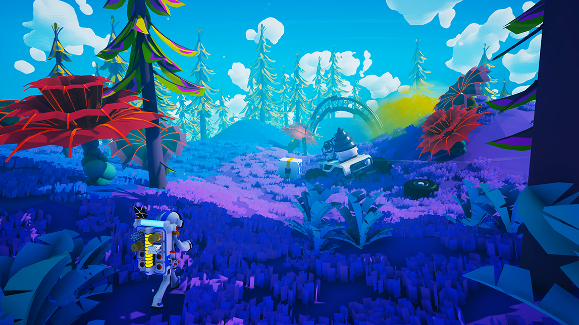 A screenshot showing a bright, colourful alien landscape in Astroneer.