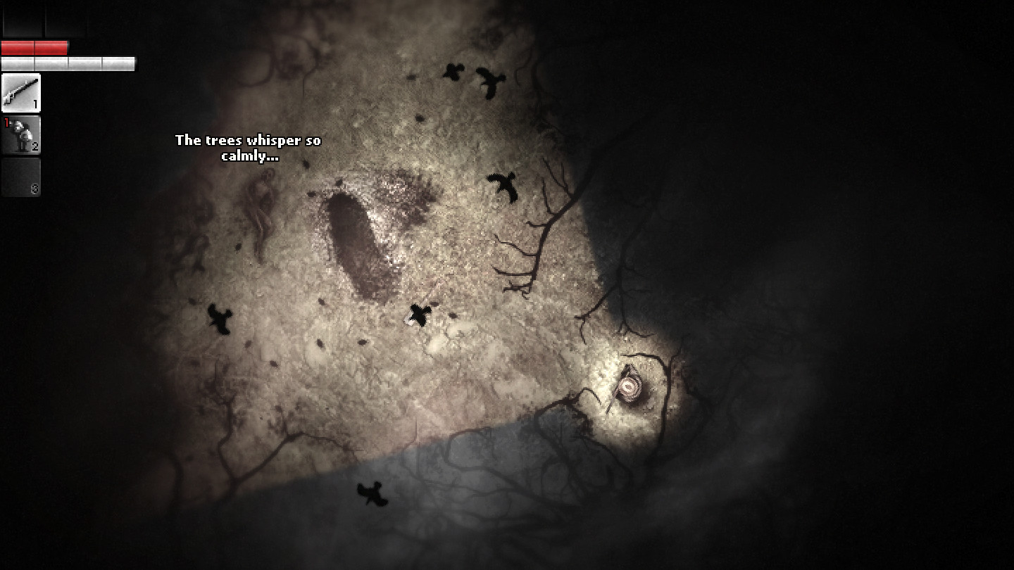 A screenshot showing a dark, top-down forest scene from Darkwood.