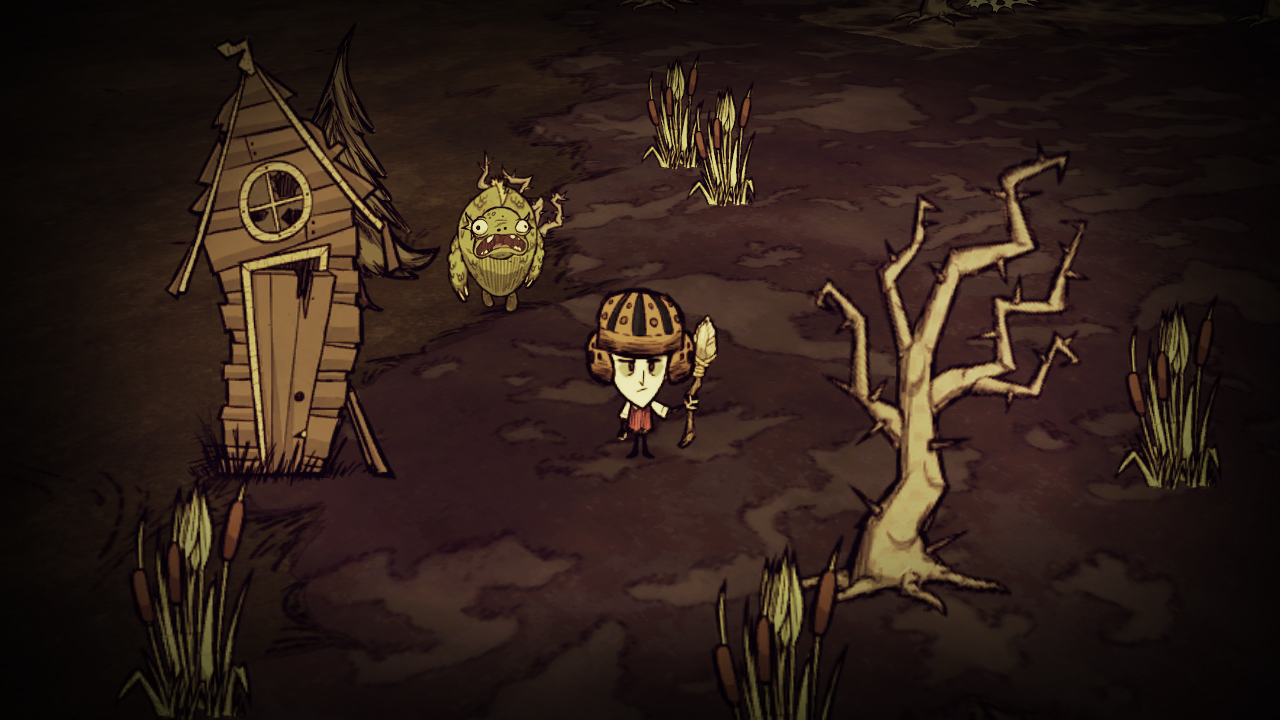 A screenshot showing a bug-eyed frog man creeping toward your helmeted character in Don't Starve.