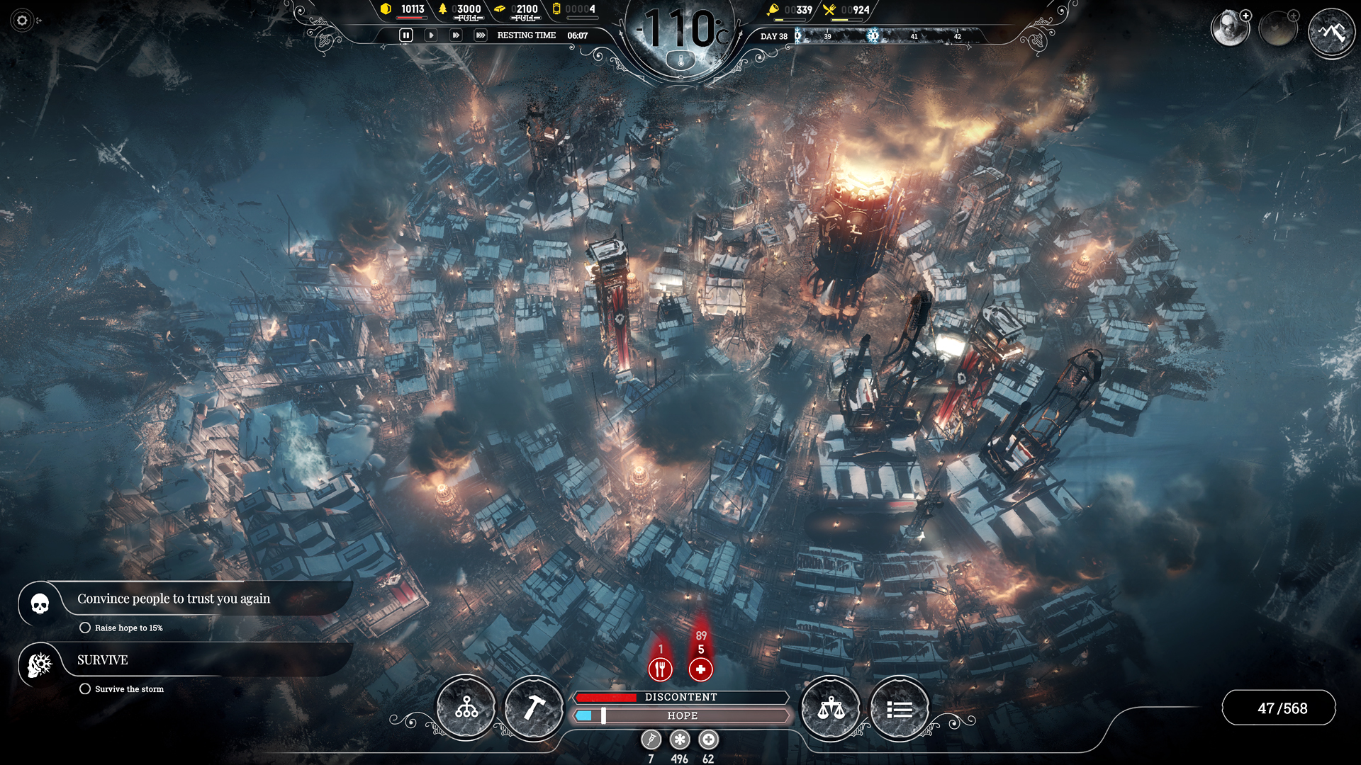 A screenshot showing a snowy city from Frostpunk.