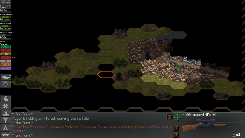 A screenshot showing the hexagonal map screen of Neo Scavenger.