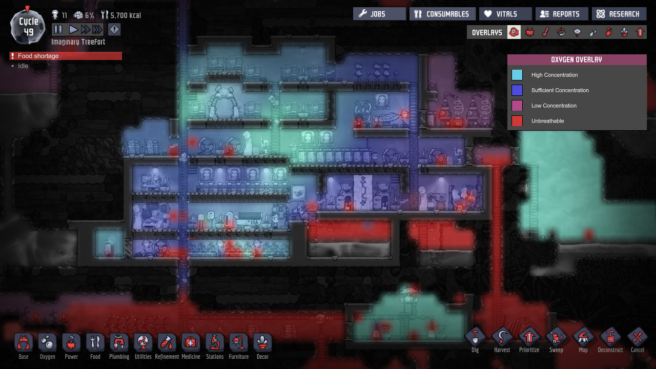 A screenshot showing a heat map of your underground base in Oxygen Not Included.