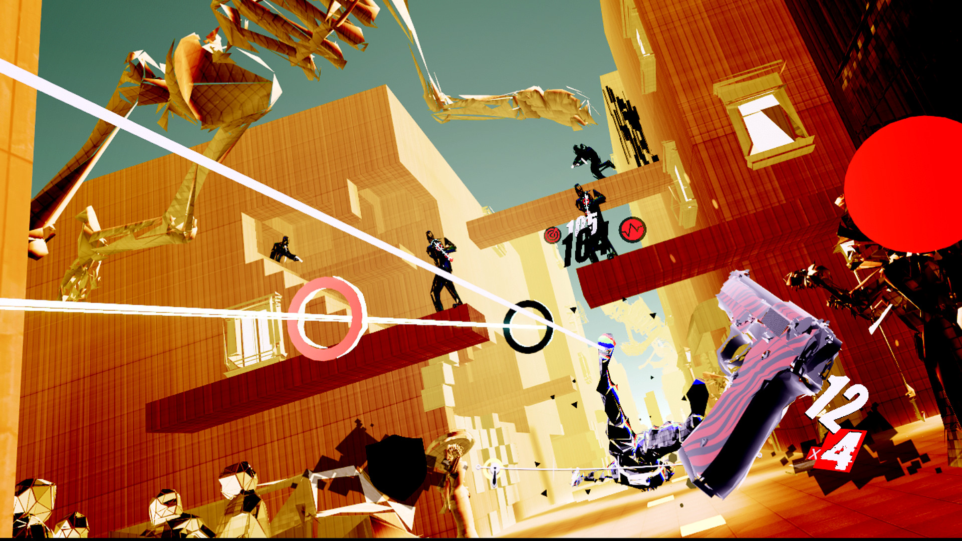 A screenshot of a surreal environment with silhouetted men in suits shooting at you in Pistol Whip.