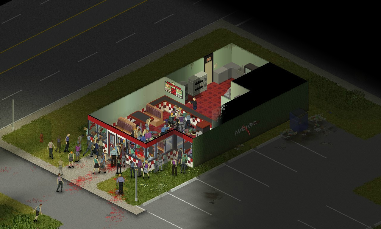 A screenshot showing a zombie-packed diner from an isometric viewpoint in Project Zomboid.