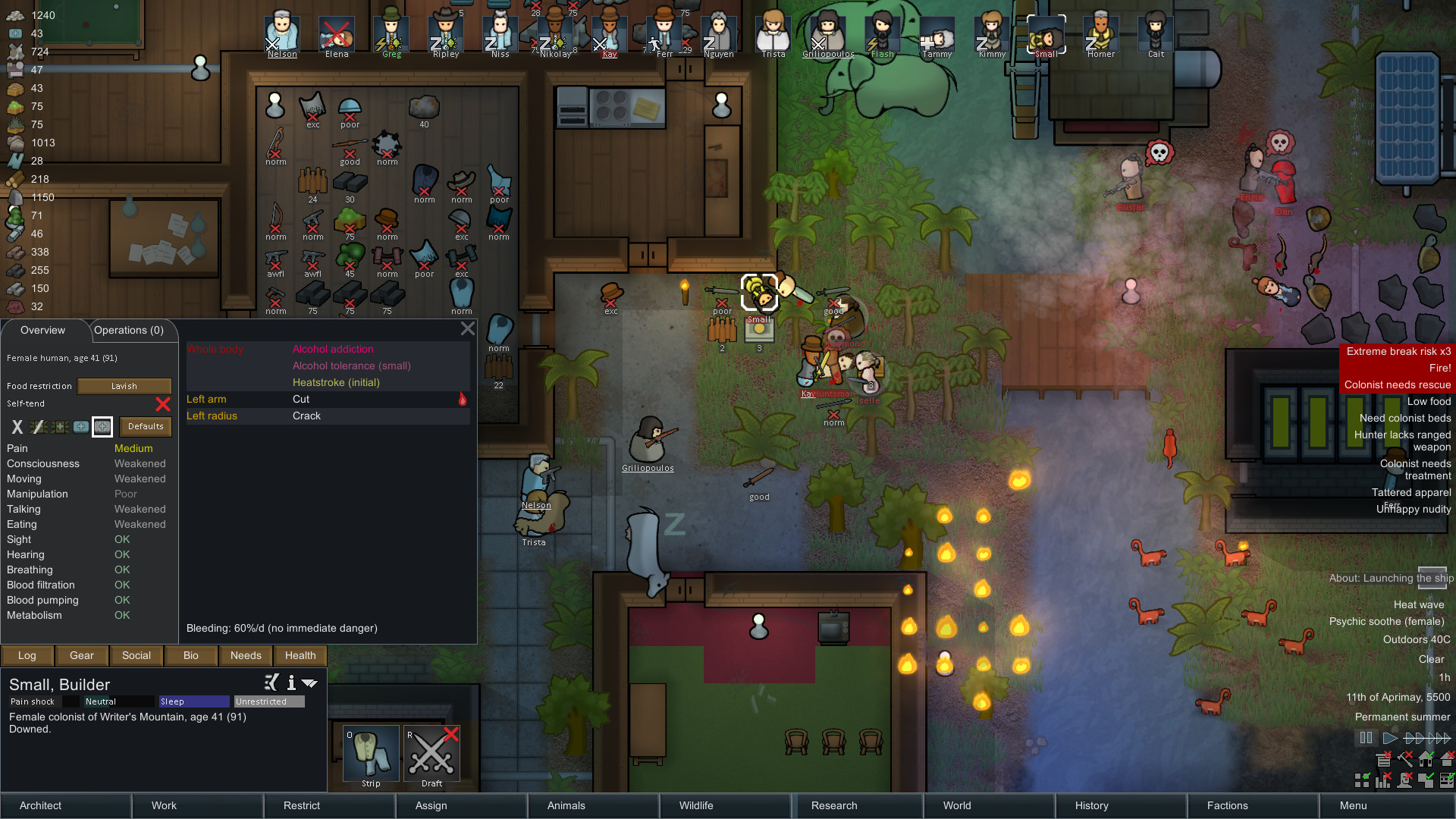 A screenshot showing the busy top-down world of RimWorld.