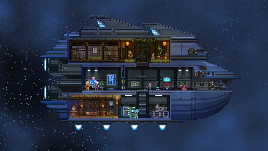 A screenshot of a starship interior in Starbound.