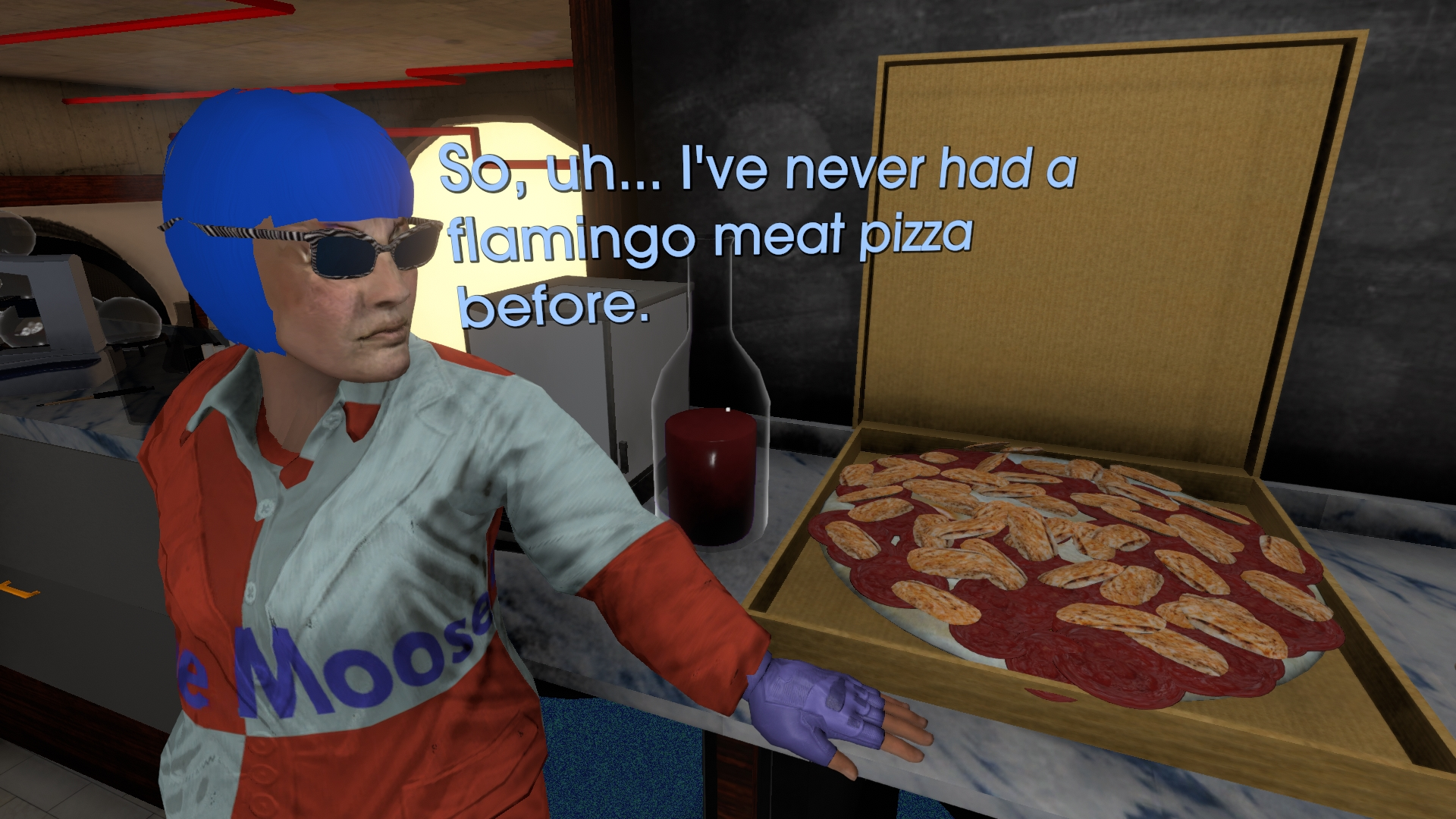 A screenshot from Tales From Off Peak City showing an NPC looking at weird pizza, saying 'So, uh... I've never had a flamingo meat pizza before.'