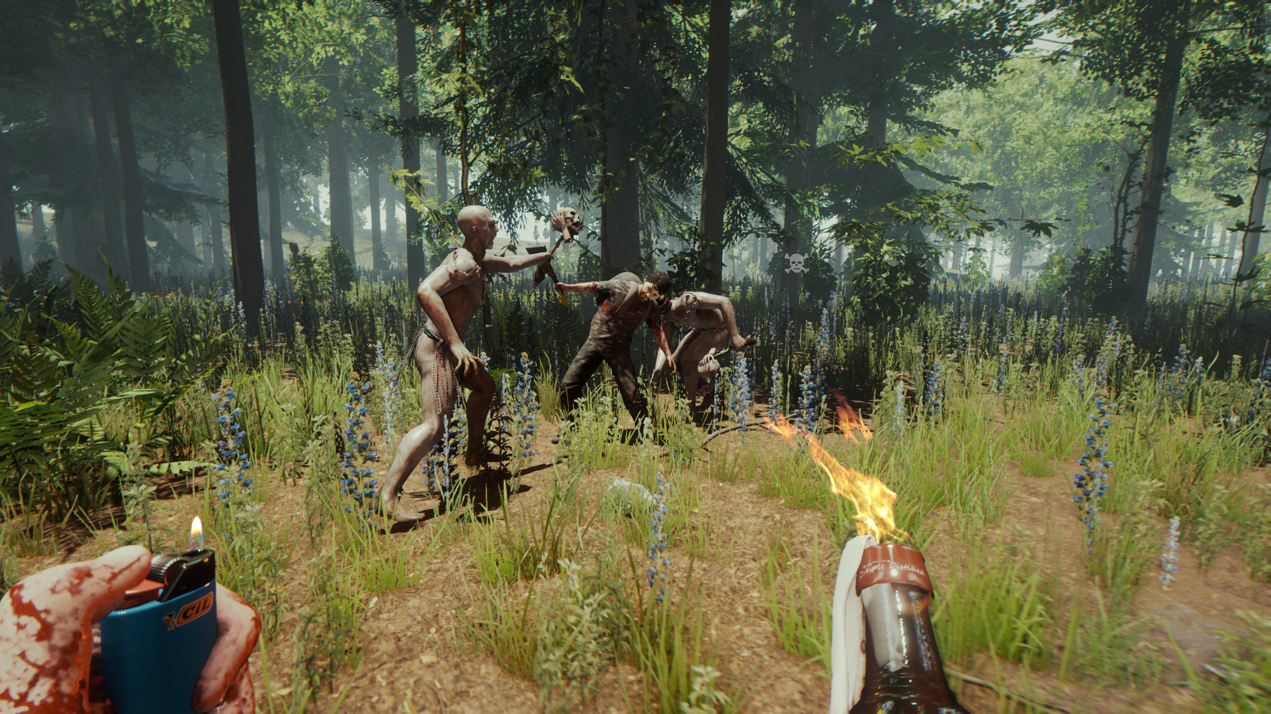 A screenshot from The Forest showing a forest scene full of zombies that are about to make the acquaintance of a molotov cocktail.