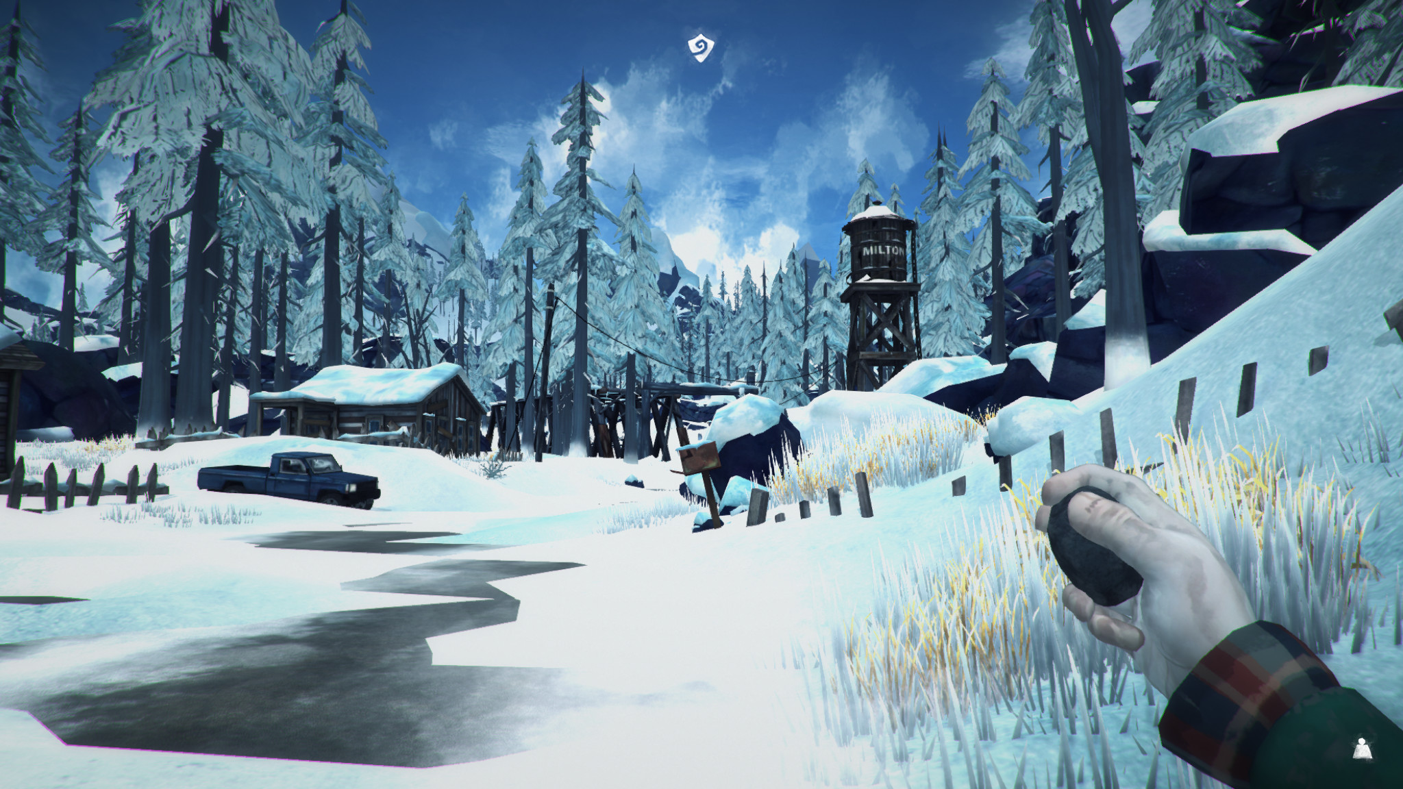 A screenshot showing the frozen, snowy wilderness of The Long Dark.