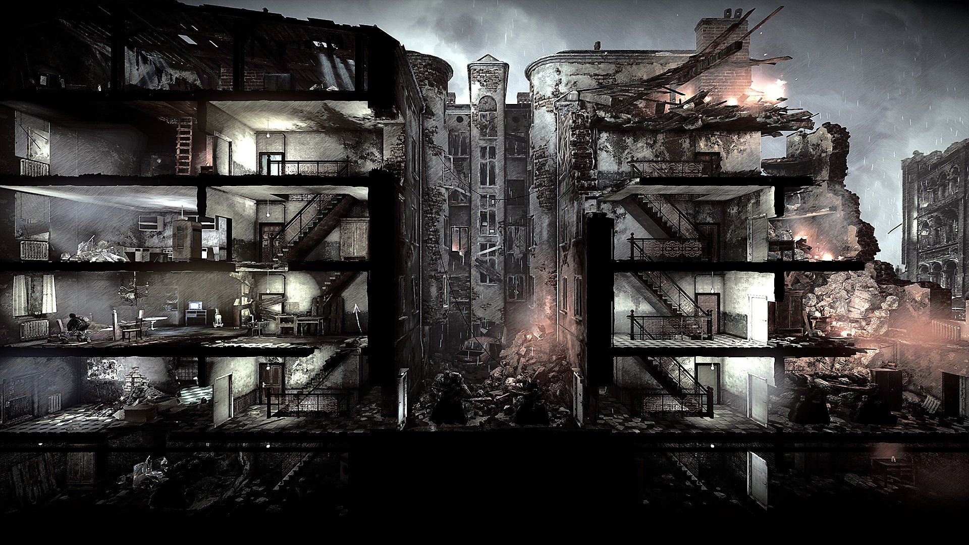 A screenshot showing a side-on view of a battered apartment block in This War of Mine.