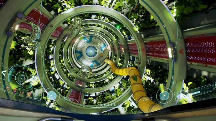 A screenshot of a long space tunnel surrounded in greenery in ADR1FT.