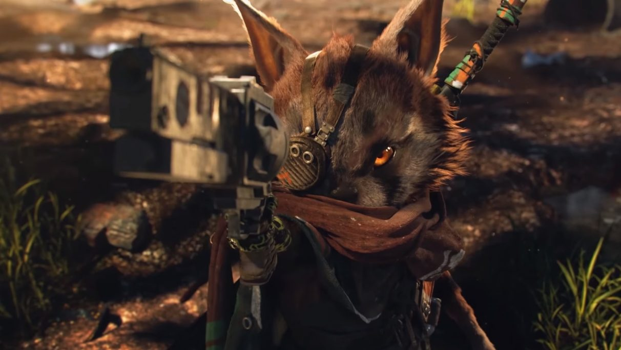 A screenshot of the hero from Biomutant
