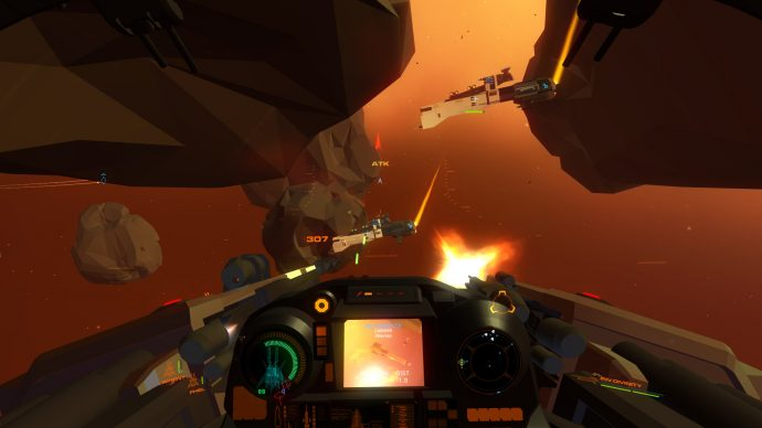 A screenshot of a space battle taking place between red asteroids in House Of The Dying Sun.