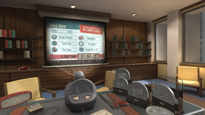 A screenshot of a 50s style office with a projector on a table showing your mission stats in I Expect You To Die.