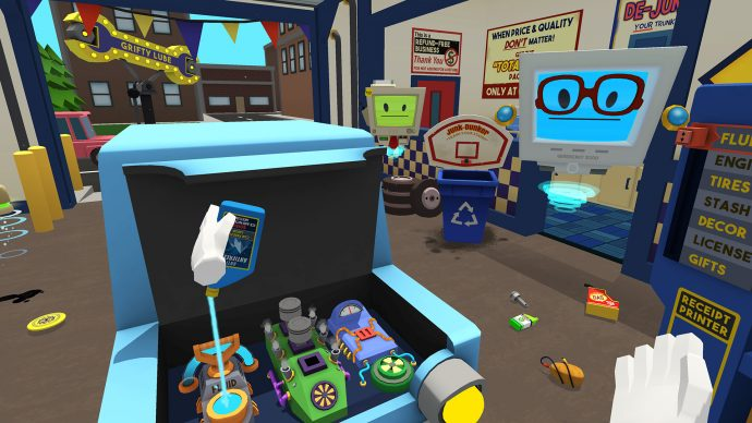 A screenshot from Job Simulator where you're pretending to work in an old-fashioned, but brightly coloured garage.