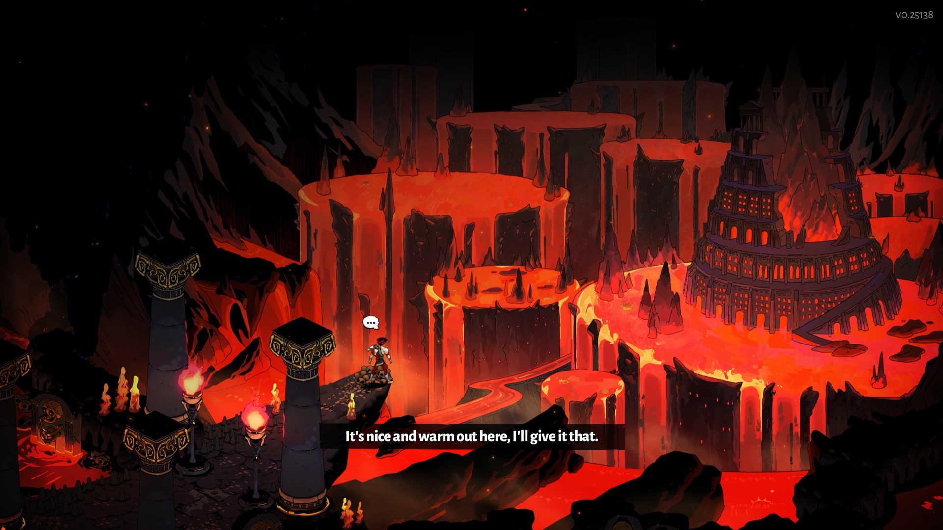 Zagreus stands looking over one of the levels of the underworld, a mass of towering pools of lava running in waterfalls down the sides of rock pillars.