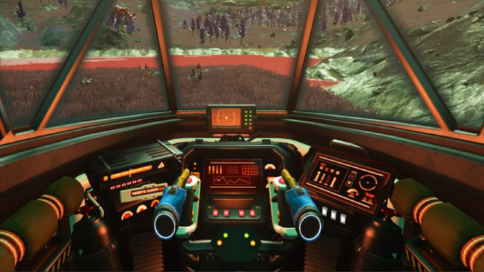 A screenshot of a ship cockpit in No Man's Sky