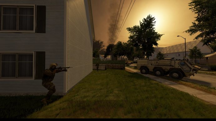 A screenshot of a solider rounding the corner of a building at sunset, aiming his gun at a military truck in Onwards.